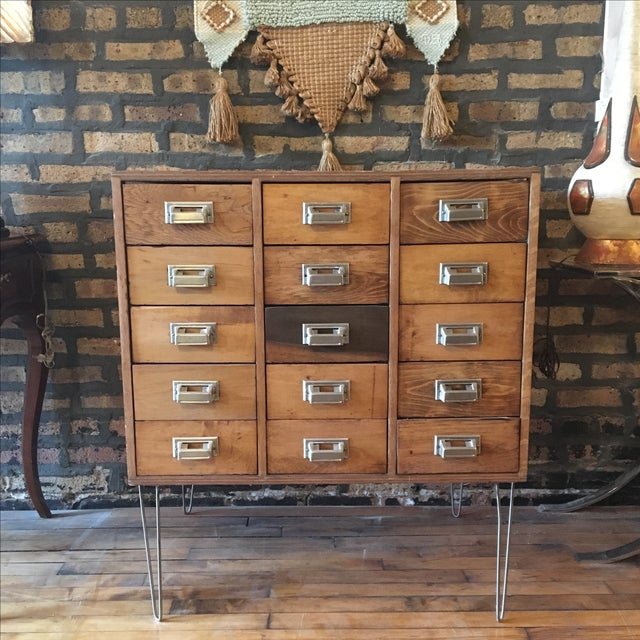 15 Drawer Card Catalog on Hairpin Legs For Sale - Image 11 of 11