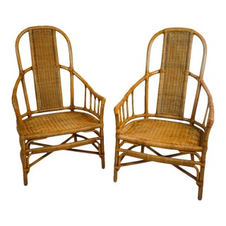 Vintage Rattan and Bentwood Armchairs - a Pair For Sale