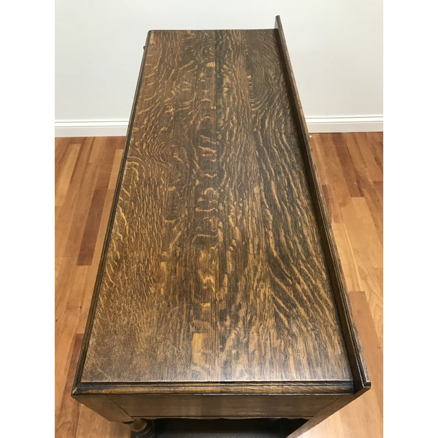 Late 19th Century English Jacobean Tudor Silverware Chest Server Quartern Sawn Oak For Sale - Image 9 of 13