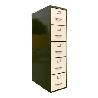 Mid Century Steelcase File Cabinet, Refinished in Pearl and Army Green For Sale