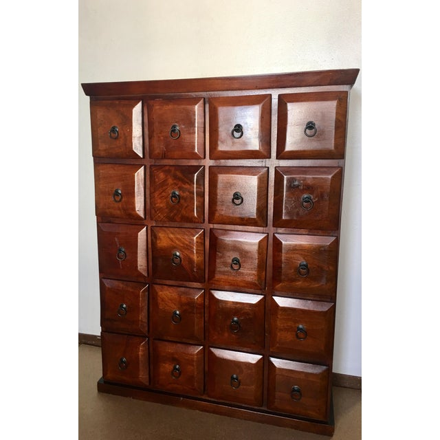 Brown Vintage Mahogany Apothecary 20 Drawer Cabinet For Sale - Image 8 of 11