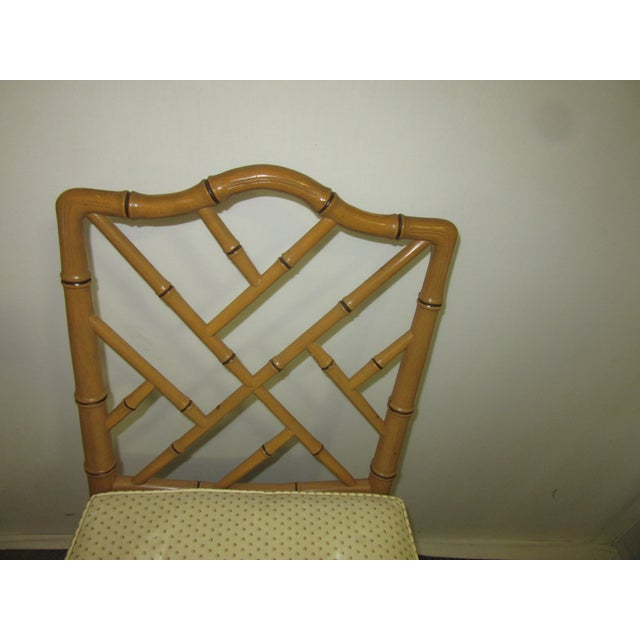Hollywood Regency Style Faux Bamboo Chairs in Original Natural Finish - Set of 6 For Sale In Philadelphia - Image 6 of 9