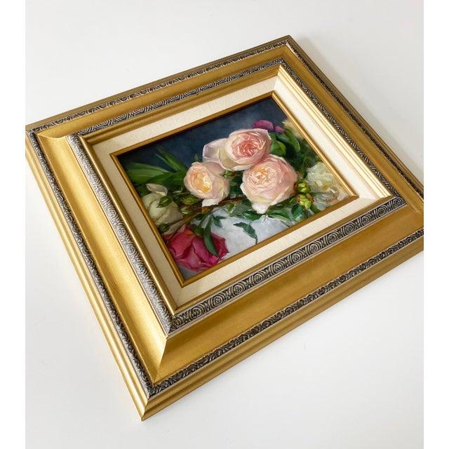 Rose Oil Painting of Garden Roses - Framed For Sale - Image 8 of 10