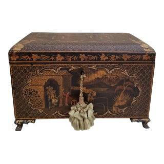 Antique Chinoiserie Tea Caddy Box For Sale