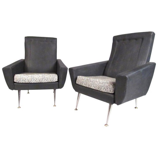 Italian Modern High Back Lounge Chairs After Gio Ponti For Sale - Image 11 of 11