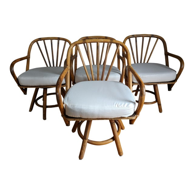 Swivel Bamboo Armchairs - Set of 4 For Sale