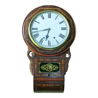 19c American Inlaid Regulator Wall Clock For Sale