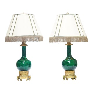 19th C. French Doré Bronze Mounted Chinese Porcelain Lamps For Sale