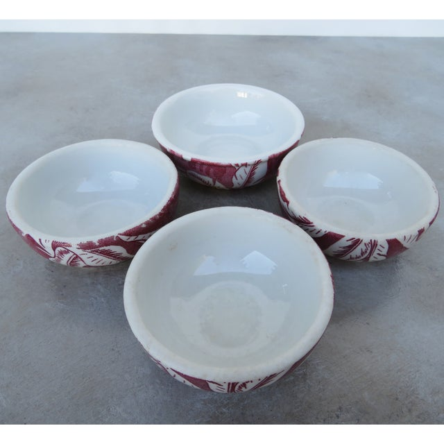 1950s Vintage Tepco Maroon and White Dinnerware - Set of 21 For Sale - Image 5 of 7