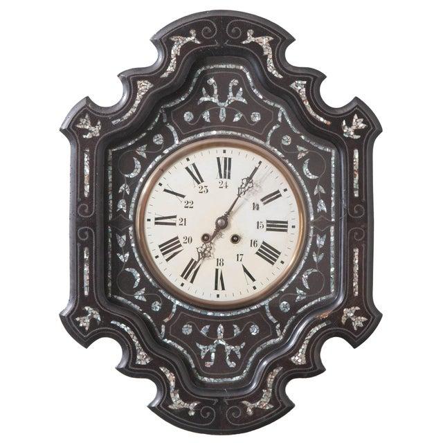 Wood French 19th Century Napoleon III Ebony Wall Clock For Sale - Image 7 of 7