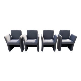 Mid-Century Modern Pair of Sculptural Pierre Paulin Style Lounge Armchairs - Set of 4 For Sale