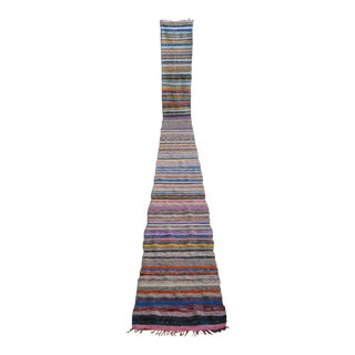 Vintage Turkish Handmade Ragrug Runner Rug Stair Tread - 2′1″ × 22′8″