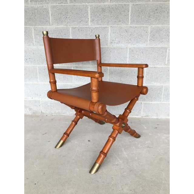 Aesthetic Movement Faux Bamboo Leather Directors Chair With Brass Accents For Sale - Image 3 of 8