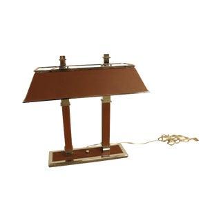 Ralph Lauren Leather & Chrome Double Student Desk Lamp For Sale