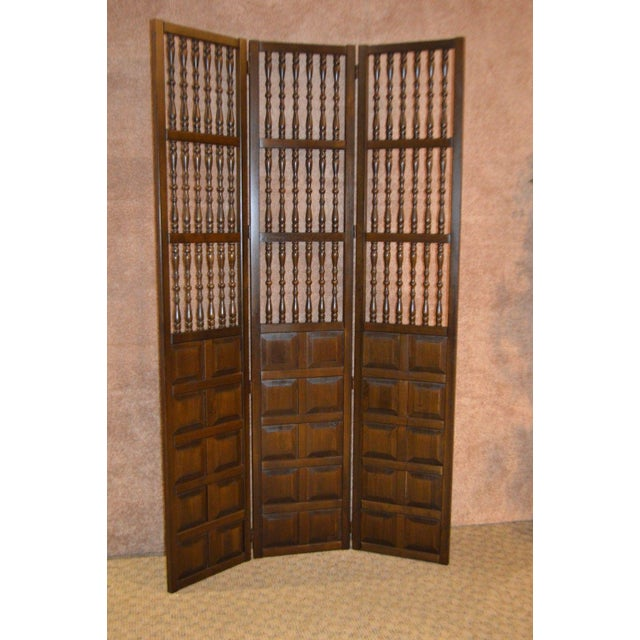 "Vintage Wood Screen / Room Divider Jacobean Style Three Section Spindle Detail Measurements: 51""W x 2""D x 84""H"