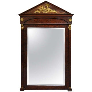 French Empire Regency Style Bronze Ormolu Burl Wood Pier Mirror For Sale