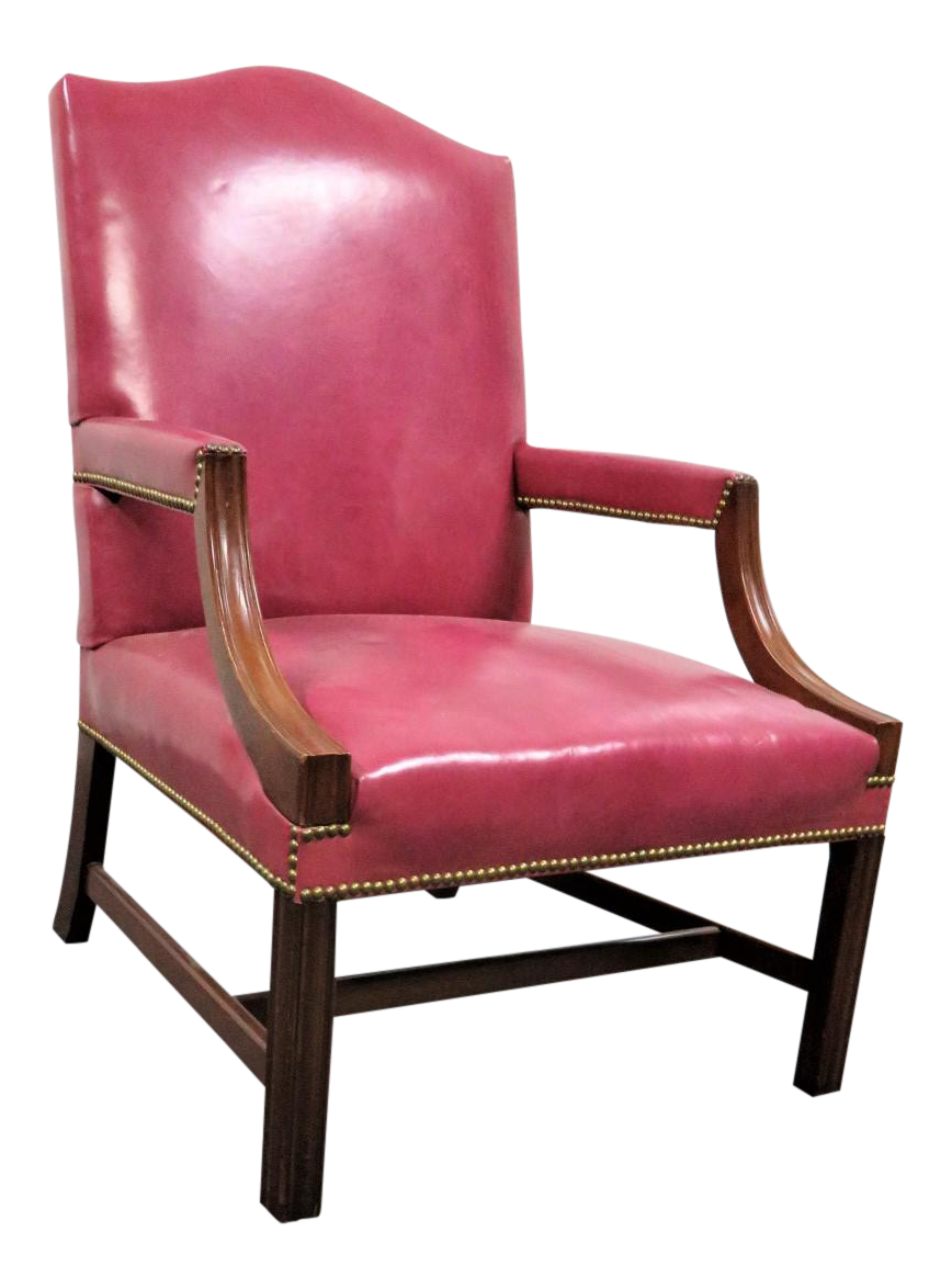 Chippendale Pink Leather And Walnut Library Chair