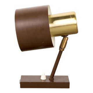 1960s Brown and Brass Wall Lamp Alfa by Jo Hammerborg For Sale