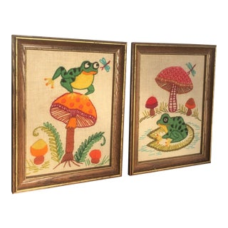 Frog & Mushroom Crewel Wall Art- A Pair For Sale