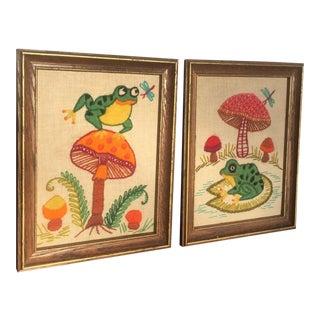 Frog & Mushroom Crewel Wall Art- A Pair