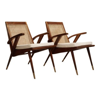 Pair of Mid-Century Modern Teak and Caned Side Chairs With Cushions For Sale