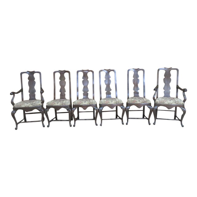 Italian Queen Anne Style Dining Chairs - Set of 6 For Sale
