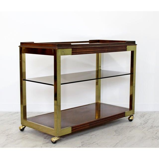 1960s Vintage Drexel Heritage Brass Wood 2-Tier Bar Cart For Sale - Image 12 of 12