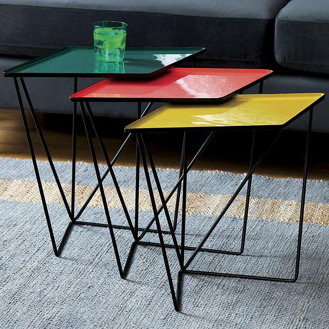 Modern Modern CB2 Bright Colorful Nesting Tables - 3 Pieces For Sale - Image 3 of 4