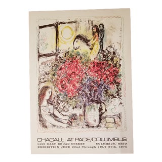 "1974 Marc Chagall La Chevauchee ""Chagall at Pace / Columbus"" Original Exhibition Poster For Sale"