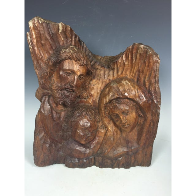 Religious Vintage Carved Wood Religious Sculpture of Holy Family For Sale - Image 3 of 6