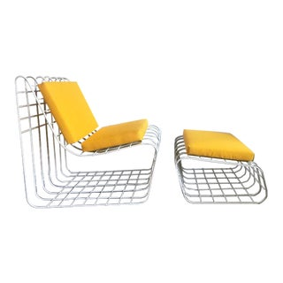 1970s Mod Wire Lounge Chair With Ottoman For Sale