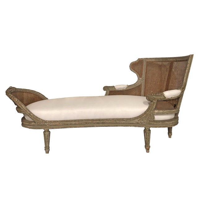 1850 Antique French Caned Chaise Lounge For Sale