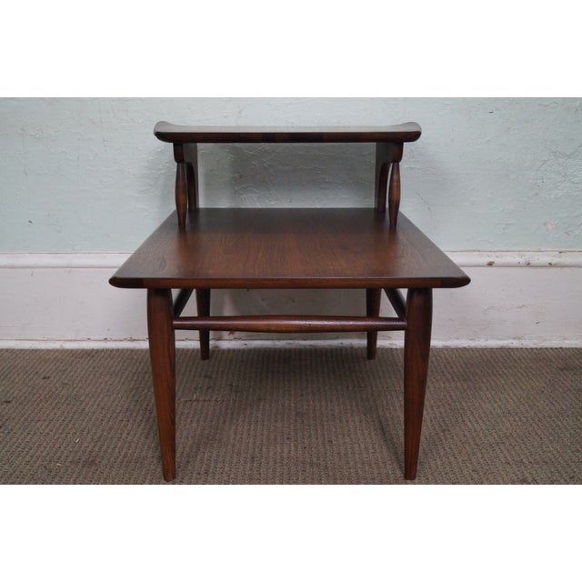 Walnut Bassett Mid Century Modern 2 Tier Step End Tables - a Pair For Sale - Image 7 of 10