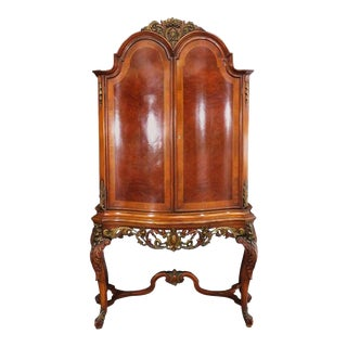 French Louis XV Style Carved Satinwood China Liquor Cabinet, Circa 1920s For Sale