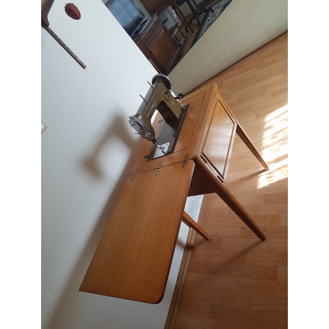 Mid-Century New Home Sewing Machine With Cabinet - Image 2 of 5