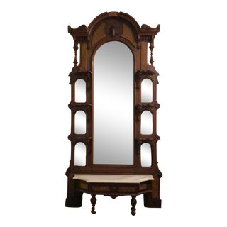 Antique Victorian Walnut, Burl and Marble Top Hall Tree With Mirror For Sale