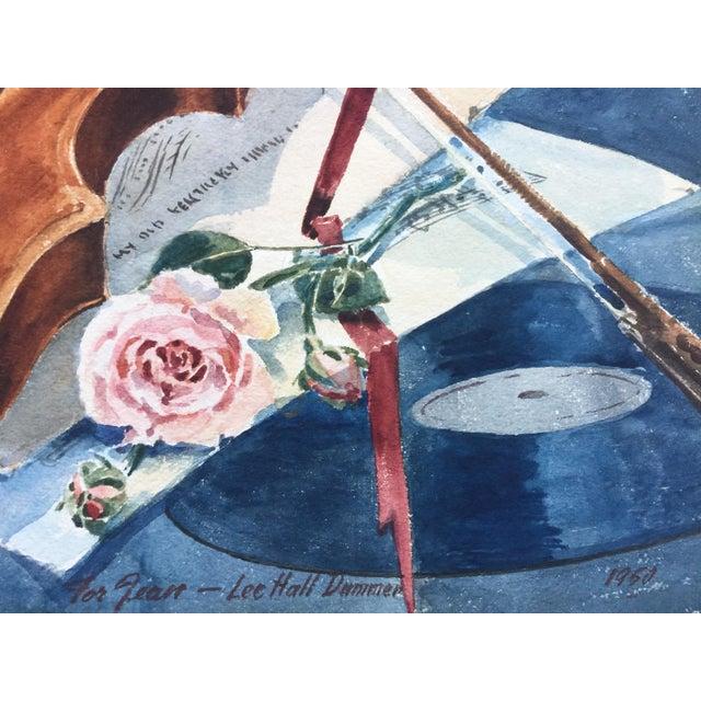 Vintage 1950's Watercolor Painting MusicViolin Trumpet Keyboards - Image 7 of 9