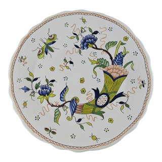 Vintage Hand Painted Rouen Normandy French Faience Decor Corne Tin Glazed Ceramic Plate For Sale