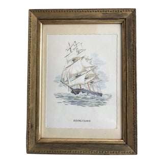 Vintage Full-Rigged Clipper Ship Print For Sale