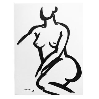 "2010s Minimalist Original Pen & Ink Drawing ""Seated Female"" by Christy Almond For Sale"