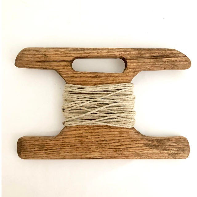 Industrial Hand-Carved Wood Kite Spool For Sale - Image 3 of 3