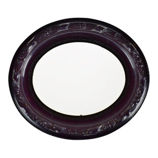 Antique Black Gesso Oval Picture Frame For Sale