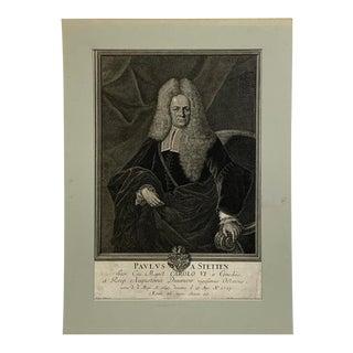18th Century Paulus A. Stetten Portrait Mezzotint Print For Sale
