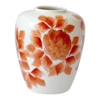 Vintage Tilso Japan Handpainted Coral Orange Ginger Jar Vase For Sale