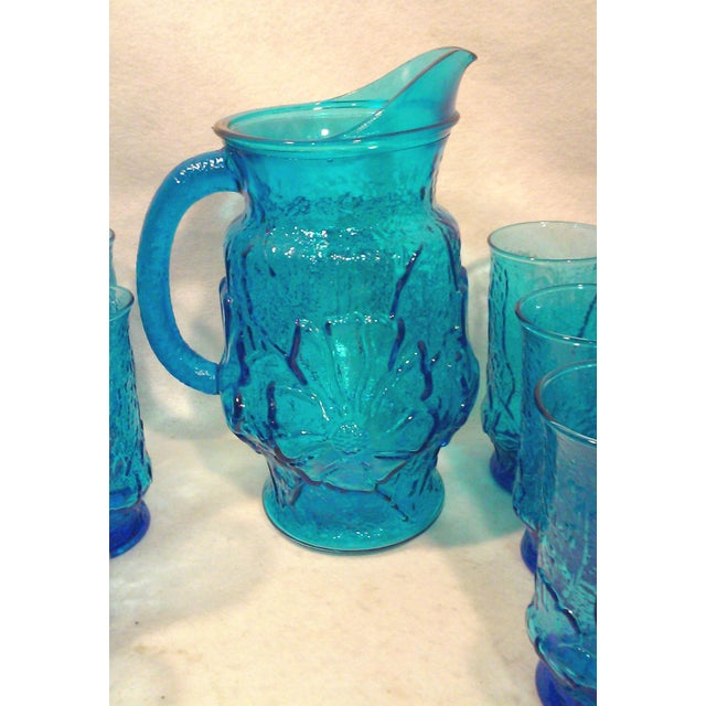 Turquoise Glass Pitcher and Tumblers Set of 17 For Sale - Image 4 of 6