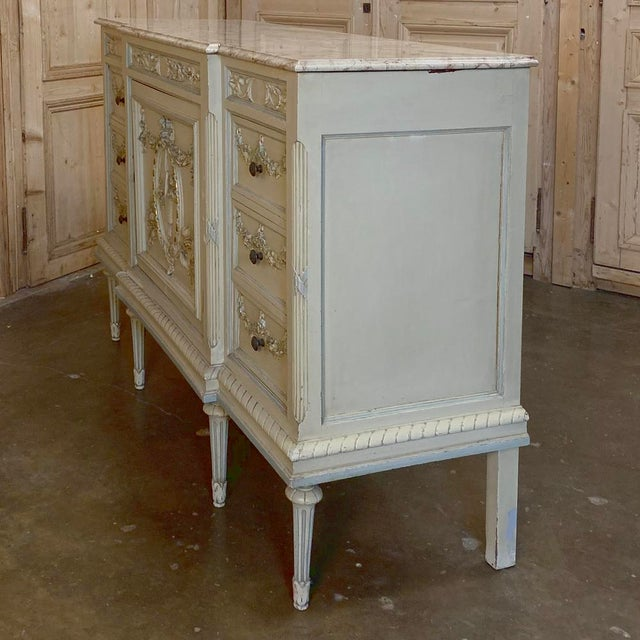 Antique Italian Louis XVI Painted Dresser ~ Linen Press For Sale - Image 4 of 13