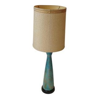 Mid-Century Blue Ceramic Lamp