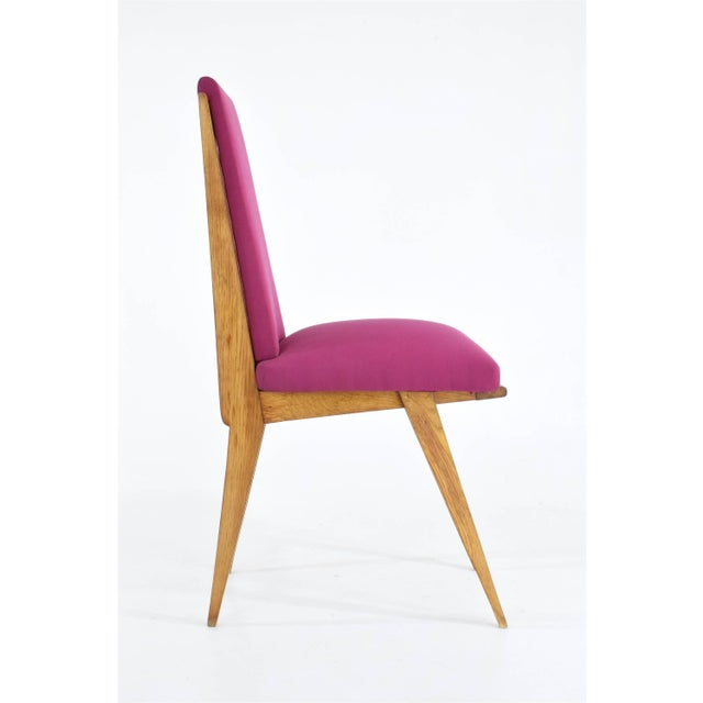 Pink French Art Deco Dining Chairs, Set of Five, 1940s For Sale - Image 8 of 12