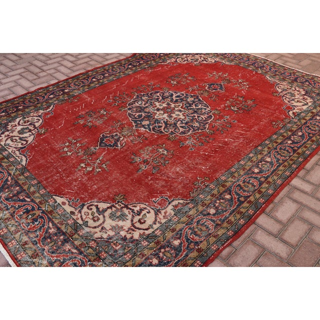 "Vintage Turkish Medallion Oushak Rug - 7'1"" X 9'10"" - Image 3 of 7"