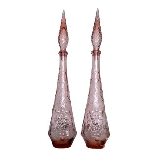1960's Tall Pink Italian Art Glass Genie Decanters - a Pair For Sale